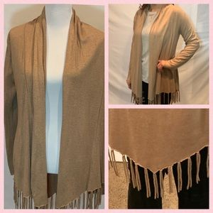 Acrobat Silk/Cashmere tan open fringed cardigan M